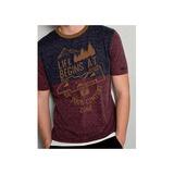 99c7ce4286 Camiseta Life Masculina Troller Vinho-azul Estonado
