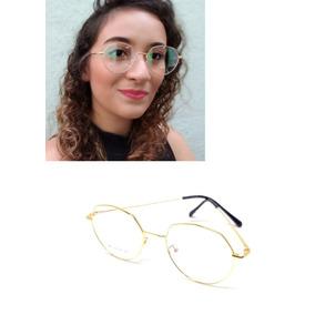 7ca92830d Óculos Armação De Grau Feminino Redondo Geek Vértice +brinde