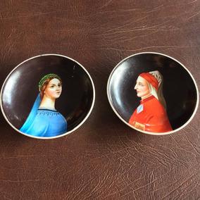Dante E Beatrice Pratos Antigos Em Porcelana Pintados À Mão