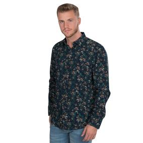 Camisas Relaxed Fit Casuales Viscosa Floreada Azul B90317