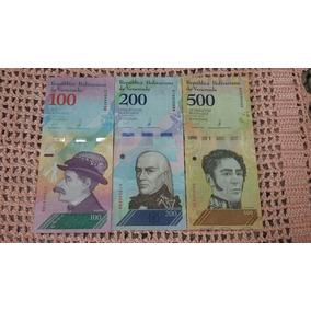 Kit Com 3 Cédulas De Bolivares Soberano Fe 100/200/500