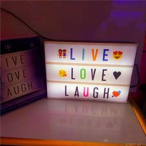 Letreiro Led A4 Light Box 112 Letras Emoji Coloridos