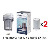 Filtro P/ Chuveiro Transparente Remove Cloro + 2 Refil Extra