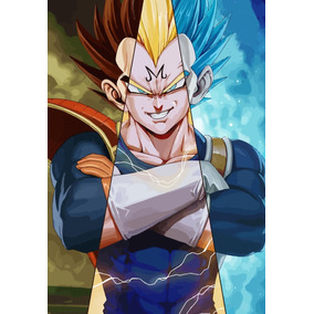 Quadro Poster Moldura Arte Dragon Ball Z Super Vegeta Fases