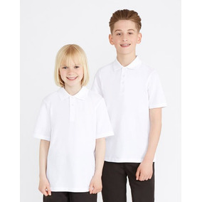 Playera Polo Pique Uniforme Escolar Blanca Infantil Mayoreo a210d0b10f536