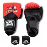 Kit Luva Muay Thai Boxe Vermelha 12 14 Oz+ Bandagem Elastica
