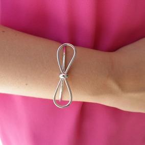 Bracelete Regulável Lacinho Banhado À Prata