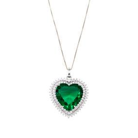 Colar Pingente Coração Esmeralda Com Bordas Cravejadas