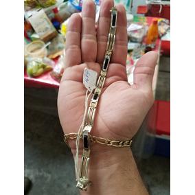 Esclava De Oro 10k, Oro Blanco Y Onix 16.8g Gramos Macizo