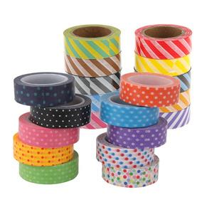 20 Rolls Washi Listrado Tapes Papel Adesivo Decorativo Dots