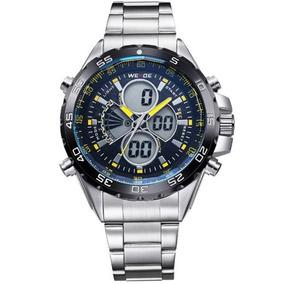 Relógio Masculino Weide Wh-1103 Anadigi Amarelo Com Nf
