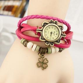 Reloj Mujer Cuero Pulsera Vintage Con Dije Varios Colores