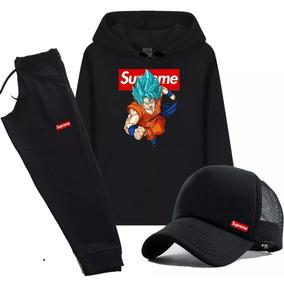 5093f5bb1a Kit Moletom + Calça + Boné Supreme Goku Blue Conjunto 013