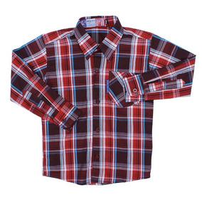 Camisa Masculina Infantil Xadrez Vinho Rodeo Western 22601