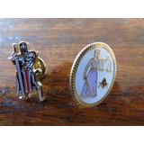 Set 2 Insignias Metálicas Pin Templario Justicia Masonería