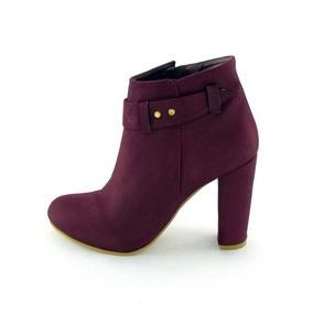 Zapatos Botin Dama Tacon Ancho Mujer Gamuza Purpura M4290