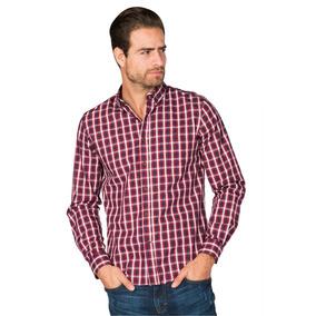 Camisas Hombre Slim Fit Casual Manga Larga Cuadros B85114