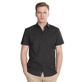 Camisas Hombre Manga Corta Negra Slim Fit Casuales B85358