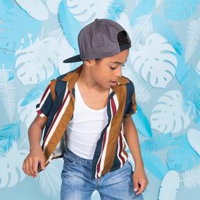 Camisa Manga Corta Rayas Mostaza P/bebé Y Niño- Ivi Clothing