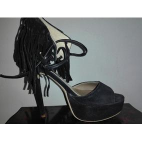 Sandalias Negras Con Flecos
