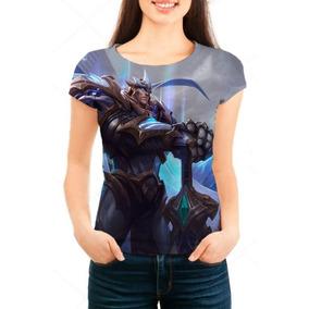 Camiseta Babylook Feminina Lol Garen Deus Rei - Game - Prom