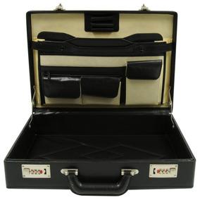 Maletín Portafolio Tipo Piel Negro Ejecutivo Oficina Laptop