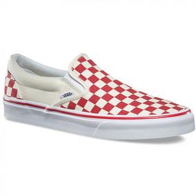Tenis Vans Slip On Rojo Checkboard Cuadros Lona Skate Unisex