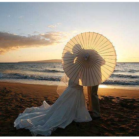 Sombrilla China Blanca Boda (50 Piezas) - Envio Gratis