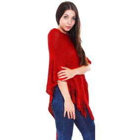 Red - Mujeres? S Poncho Suelta Del Cabo Suéter Hecho Pu-2518