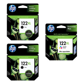 Kit Cartucho Hp 122 Xl C/ 02 Preto + 01 Colorido - Original