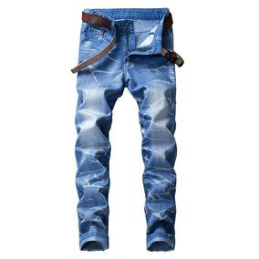 Estrecho Pies Niebla Con Humo Impresión Angustiado Jeans