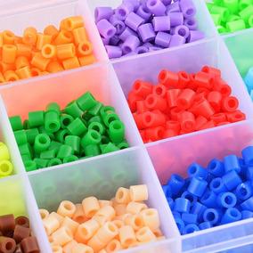Caja 12 Colores Hama Beads 1.800 U +3 Bases 8cm+pinza+papel