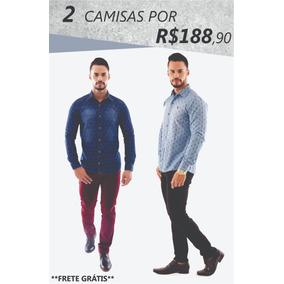 Camisa Social Jeans - Camisa Social Manga Longa Masculino no Mercado ... d5f5a23796d44