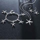 Cadena Dije Brazalete Collar Pendientes Estrella Mar Plata