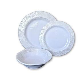 Plato 12 Pieza Plata Blanco Perla - Set Vajillas Melamina De 9e846f08204e