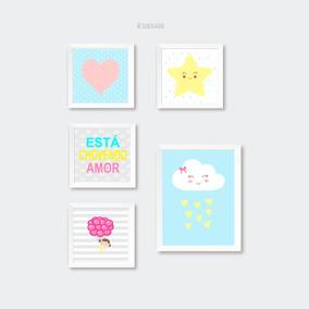 Kit Pôster Infantil Menina Nuvens Estrelinha Coração