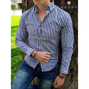Camisa Slim Fit Lineal Blanca Gris Moon & Rain Argos