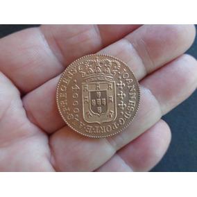 Moeda Brasil 1814 4000 Réis Réplica Banho Em Ouro 1000