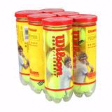 6 Tubos 18 Bolas Tênis Wilson Championship - Quadras Duras 41e2b706ff990