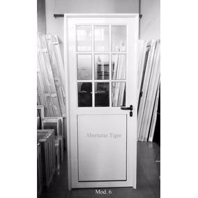Puerta Aluminio Blanco 80x200 1/2 Vidrio Repartido 4mm