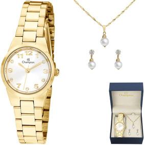 4d0ad4e1a74 Relógio Champion Feminino Oval Dourado Strass Ch25721h Outro ...