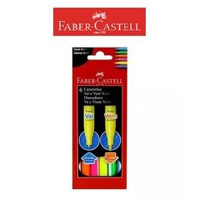 Canetinha Hidrográfica 6 Cores Neon Vai E Vem Faber Castell!