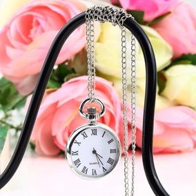 Reloj De Bolsillo Vintage Plateado Manecillas Collar 3cm Dia
