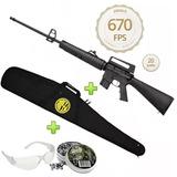 Carabina De Pressão Rossi Rifle M-16 R 5,5mm + Capa + Chumbo