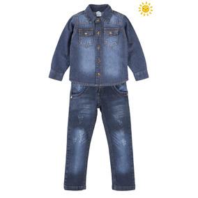 Kit Calça Jeans Bebê Camisa Jeans Social Tam 1 - 2 - 3 Infan edbae23e06a