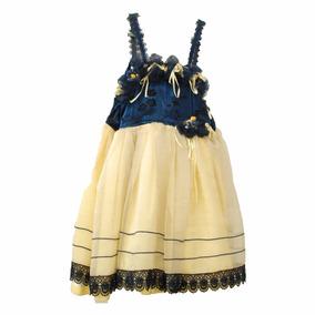 Roupas Para Estúdio:vestido Infantil De Renda Amarelo E Azul