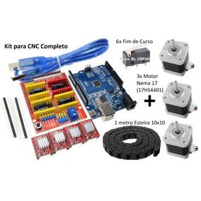 Kit Cnc Shield V3+arduino+4xdriver+3x Motor+1xesteira+6xfim