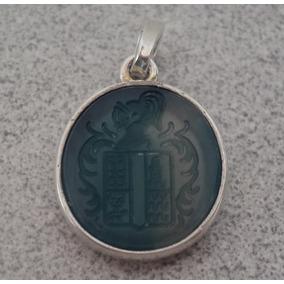 Dije Heraldico Con Escudo De Su Apellido En Piedra Agata