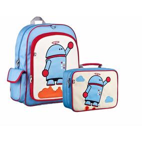 Kit Set Mochila Lonchera Beatrix Niño Escuela Niña Robot