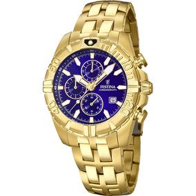 bc501f53535 Relógio Festina Dourado Azul Chrono Sport F20356 3